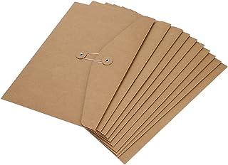 10Pcs Pochette Document en Papier Kraft A4 A5 Sac Enveloppe de Fichiers avec Ligne Boucle Porte-documents Portable Chemise...