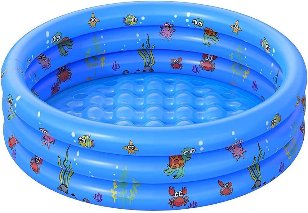 HUAMAO Piscina Inflable Infantil, Piscina Hinchable de Material Plástico Ronda de Agua Fiesta de Verano para Niños Adultos Jardín, Piscina Inflable Resistente al Sol (100cm, Azul)