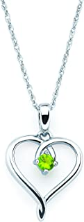 """.925 Sterling Silver Birthstone Heart Pendant Necklace, 18"""""""