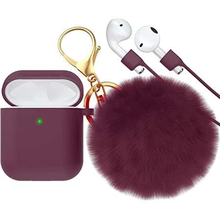 CTYBB for Airpod Case,Silicone Airpods Case Cover with Fur Ball Keychain Compatible with Apple Airpods 2/1 (Front LED Visible) Wine Red