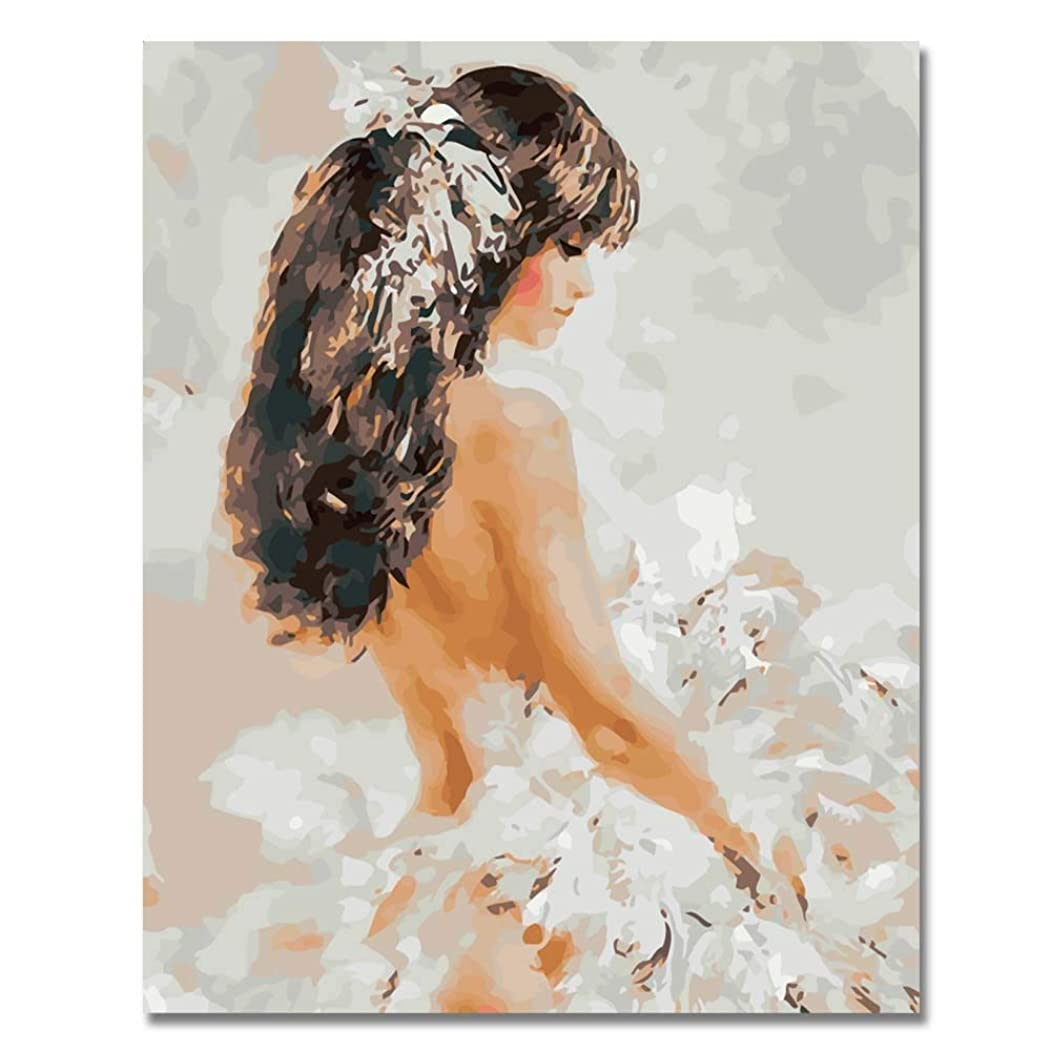 Rihe Diy Oil Painting by Numbers, Paint by Number Kits-Fashion Girl-PBN Kit for Adults Girls Kids Christmas 16x20inch (Frameless)