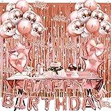 WINAROI Decoración de Cumpleaños en Oro Rosa,Pancarta de Feliz Cumpleaños,...
