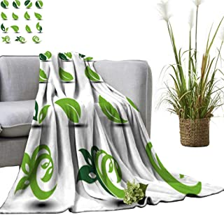 YOYI Polyester Blanket Natural rounde Symbols Leaf bio Elements Cozy and Durable 70