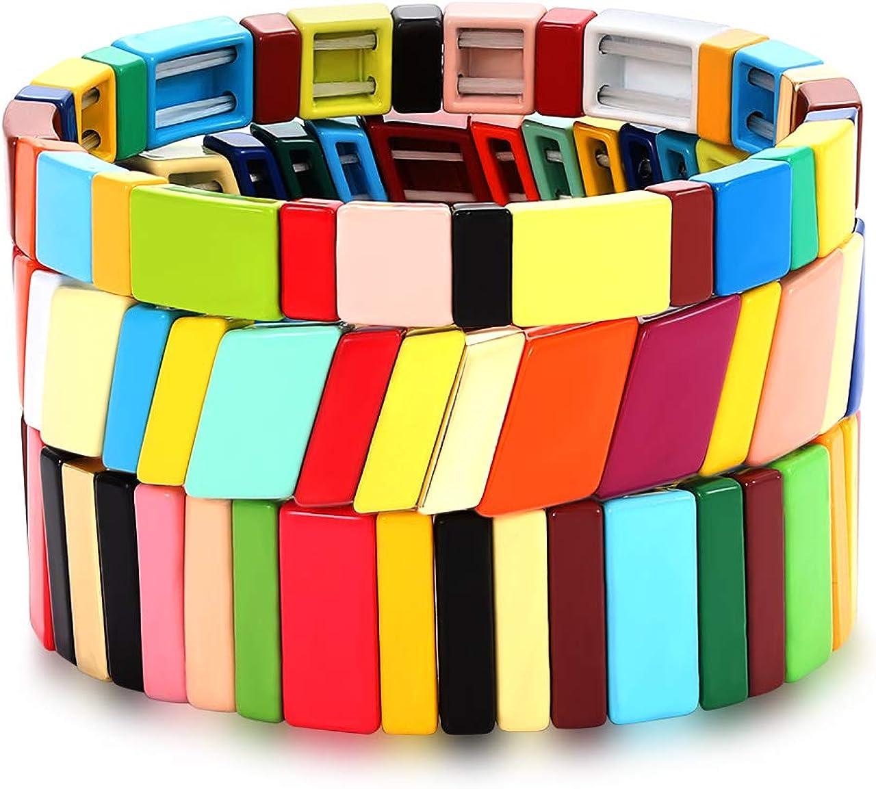 NVENF Tile Bracelets Enamel Rainbow Tile Bead Bracelets Colorblock Stackable Stretch Bracelets Bohemia Tile Strand Bangle Bracelet Set for Women Men Girls