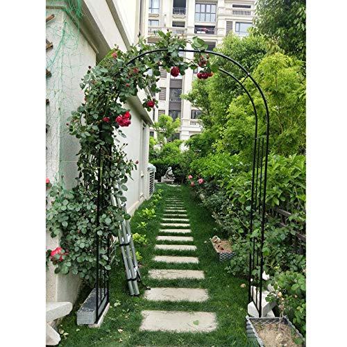 F-XW Soporte para Rosas, Arco de Jardín Decorativo, Ideal para Bodas, Cumpleaños, Ceremonias, 150/180/220cm, Blanco/Negro