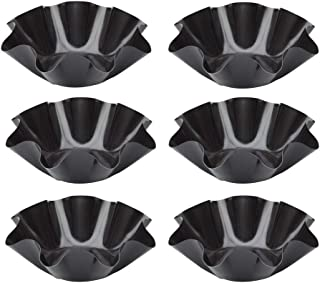 Aybloom Tortilla Pan Set - 6pcs Non-Stick Carbon Steel Taco Salad Bowl Makers Tortilla Shell Pans (Black)