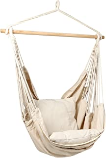 E EVERKING Hanging Rope Hammock Chair Swing Seat with Two Seat Cushions and Carrying Bag, Cotton Weave Porch Swing Chair for Indoor, Outdoor, Garden, Patio, Porch, Yard, Max 265 Lbs