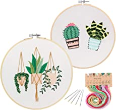 2 Pack Embroidery Starter Kit with Pattern, Kissbuty Full Range of Stamped Embroidery Kit Including Embroidery Cloth with Pattern, Bamboo Embroidery Hoop, Color Threads and Tools Kit (Cactus Plants)