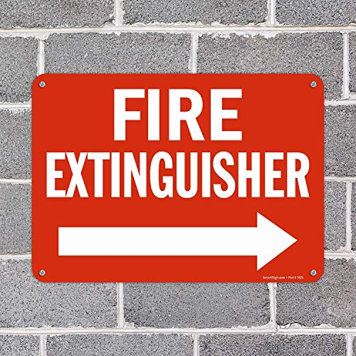 """SmartSign 10 x 14 inch """"Fire Extinguisher"""" Metal Sign with Right Arrow, 40 mil Laminated Rustproof Aluminum, Red and White"""
