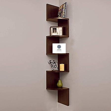 Amaxo Floating Zigzag Wall Mounted Wooden Corner Shelf   Home Decor   Corner Stand   Wall Shelf for Bedroom   Wall Stand   Corner Shelves for Living Room & Bathroom (Brown)