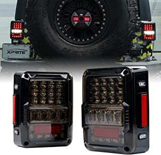 Xprite 4D Smoke Lens LED Tail Lights DOT Approved for 2007-2018 Jeep Wrangler JK JKU, High Intensity Led Rear Taillights w/Parking Light, Brake Turn Signal Lamp and Reverse Lamps Function