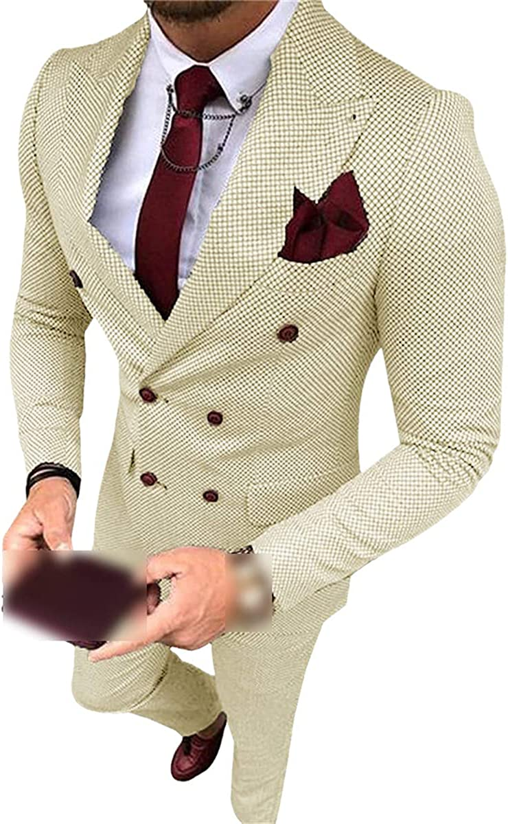 CACLSL Men's Suit Formal wear 2-Piece Slim Double-Breasted Soft Wool Ball Gown Wedding Best Man