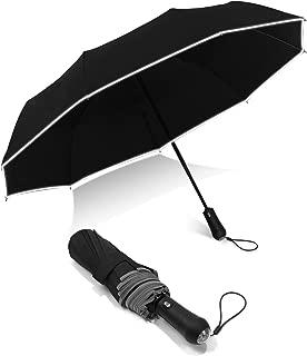 Auto Compact Led Umbrella Light-9k Fiberglass Ribs & Reflective Safety Tape For Men Women,Black