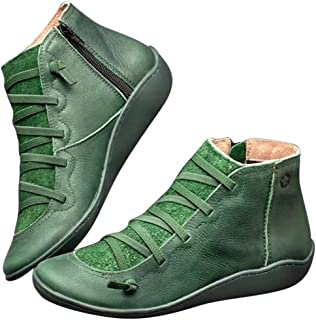 Women Lady Autumn Shoes,Leather Ankle Boots Autumn Vintage Lace Up Women Shoes Comfortable Flat Heel Boots Zipper Short Boot(Color:red,Green,Brown,Gray,Blue)