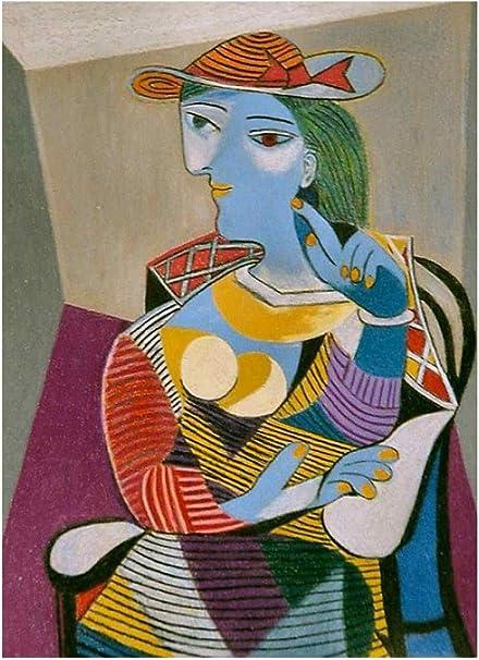 Jh Lacrocon Femme Assise Marie Therese 1937 De Pablo Picasso 80x120 Cm Peintures Abstrait A Main Tableau Reproduction Sur Toile Roulee Decoration Murale Pour Salon Amazon Fr Cuisine Maison