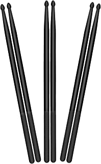 3 Pares 5A Nylon Baquetas Drum Stick, Baquetas de Bbatería, Palillos de Tambor, Baquetas para Tambor con Punta de Nailon - Negro