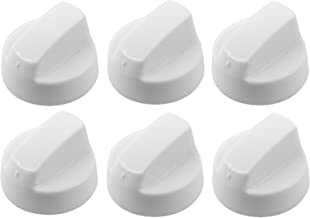 Spares2go Universal White Control Knobs For All Makes And Models Of Oven Cooker & Hob (Pack Of 6 + Adaptors)