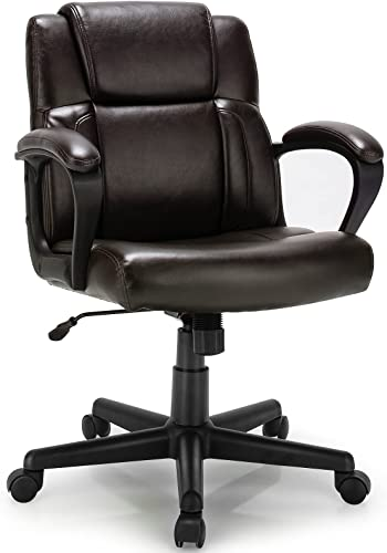 lowest Giantex Office wholesale Chair, Leather Modern Executive Chair, Ergonomic Mid Back Computer Desk Chair w/Padded wholesale Armrests, Height Adjustable Swivel Task Chair w/Rocking Function, Dark Brown outlet sale