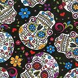 Totenkopf Stoff–DT18–Skulls schwarz