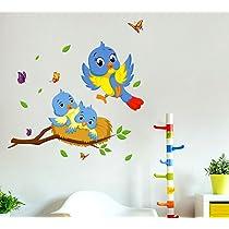 Decals Design 'Happy Birds Family' Wall Decal (PVC Vinyl, 60 cm x 45 cm x 60 cm, Multicolour)