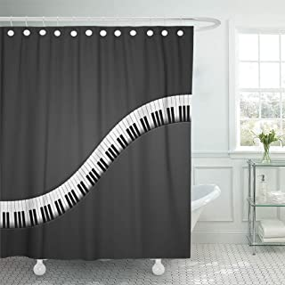 Semtomn Shower Curtain Acoustic Black Music Detailed of Piano Keys Abstract Artistic Shower Curtains Sets with 12 Hooks 72 x 72 Inches Waterproof Polyester Fabric