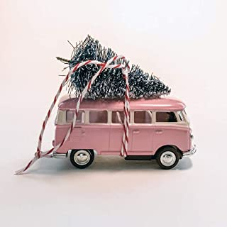 Pink VW Van Christmas Ornament with Tree on Top