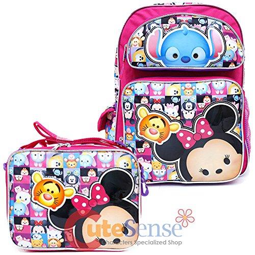 New Disney I Love Tsum Tsum 16' Canvas Pink Backpack Plus Lunch Bag Set