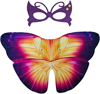 Butterfly Wings for kids,Fairy Butterfly Butterfly Shawl and Mask Poncho Costume for Boys Girls Cosplay Accessory,A