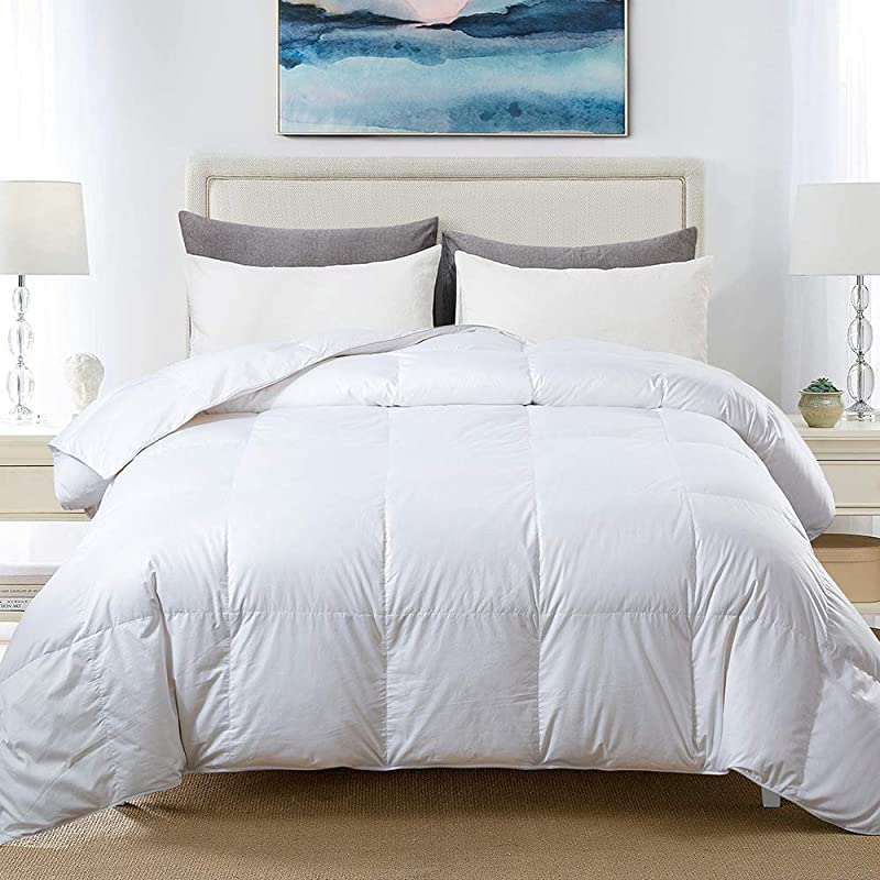 COSYBAY 100 Cotton Quilted Down Comforter White Goose Duck Down And Feather Filling Hypoallergenic All Season Duvet Insert Or Stand Alone Queen
