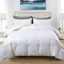 COSYBAY 100% Cotton Quilted Down Comforter White Goose Duck Down and Feather Filling – All Season Duvet Insert or Stand-Alone – King Size(106×90 Inch)