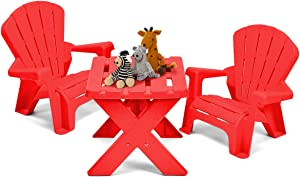 COSTWAY Kids Table Chair Set Children Plastic Furniture with Table  amp  Chairs for Eat  Learn  Read  Play  Draw Nursery Garden Outdoor Indoor  Red