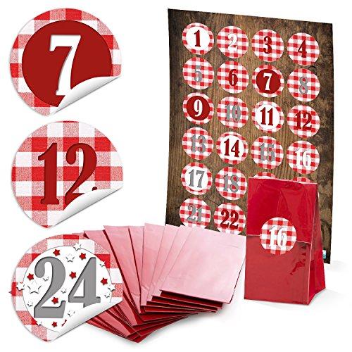 24 rode papieren zakjes Kerstmis met pergamijn inzetstuk voor koekjes koffie. 7 x 4 x 20,5 cm + 24 ronde stickers 4 cm rood wit geruit cijfers 1-24 voor adventskalender om zelf te knutselen en te vullen.