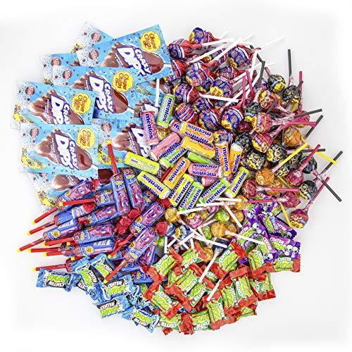 Chupa Chups Süßigkeiten Party-Mix, 200 Stück 1930 g, nur Markenware, Klassiker + Spezial-Artikel: Lutscher, Kau-Bonbons, Kaugummis