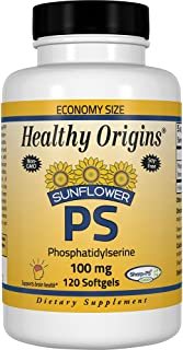 Healthy Origins Sunflower PS (Phosphatidylserine) Soy-Free, Non-GMO 100 mg, 120 Softgels