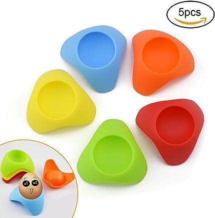 Preisvergleich für Eierbecher Halter Rack Silikon buntes Design (Packung à 5)