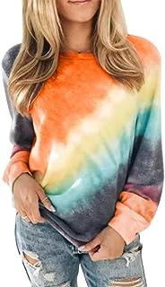 Glanzition Womens Tie Dye Sweatshirt Fall Long Sleeve Crewneck Sweatshirts