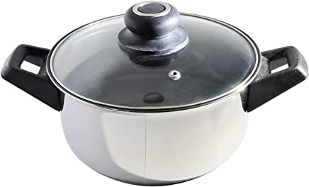 Black Diamond Casserole/Cooking Stainless Steel Nonstick Cook & Serve Pot (SNC24) – 4 Liters Capacity - Heavy Sandwich Bottom Base with Toughened Glass Lid