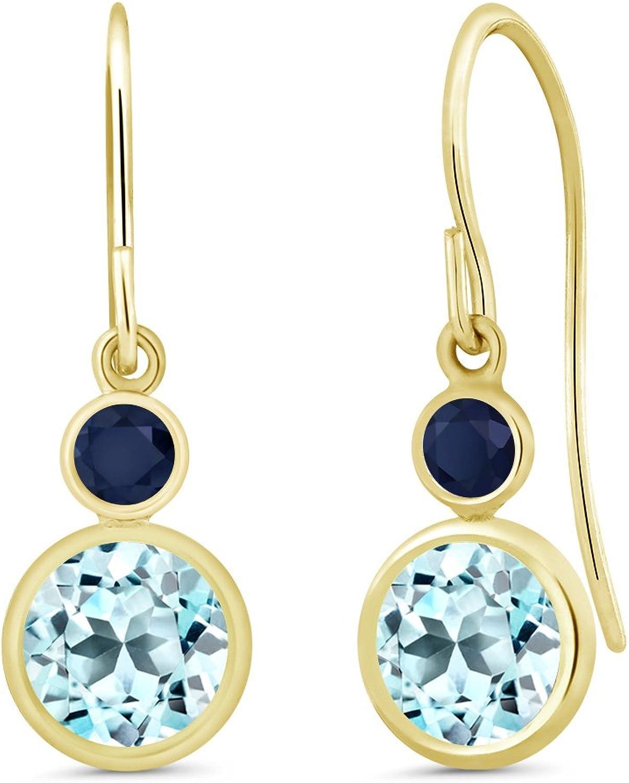 2.65 Ct Round Sky bluee Topaz bluee Sapphire 14K Yellow gold Earrings