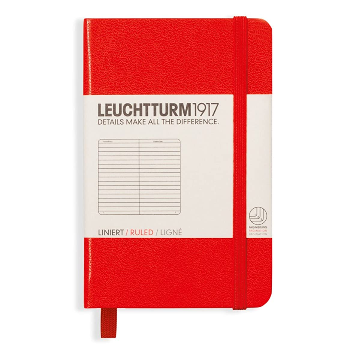 Leuchtturm1917 Mini Hardcover Notebook, 2.76 X 4.33 inches, 169 Lined Pages, Red (349347) stih1052195536
