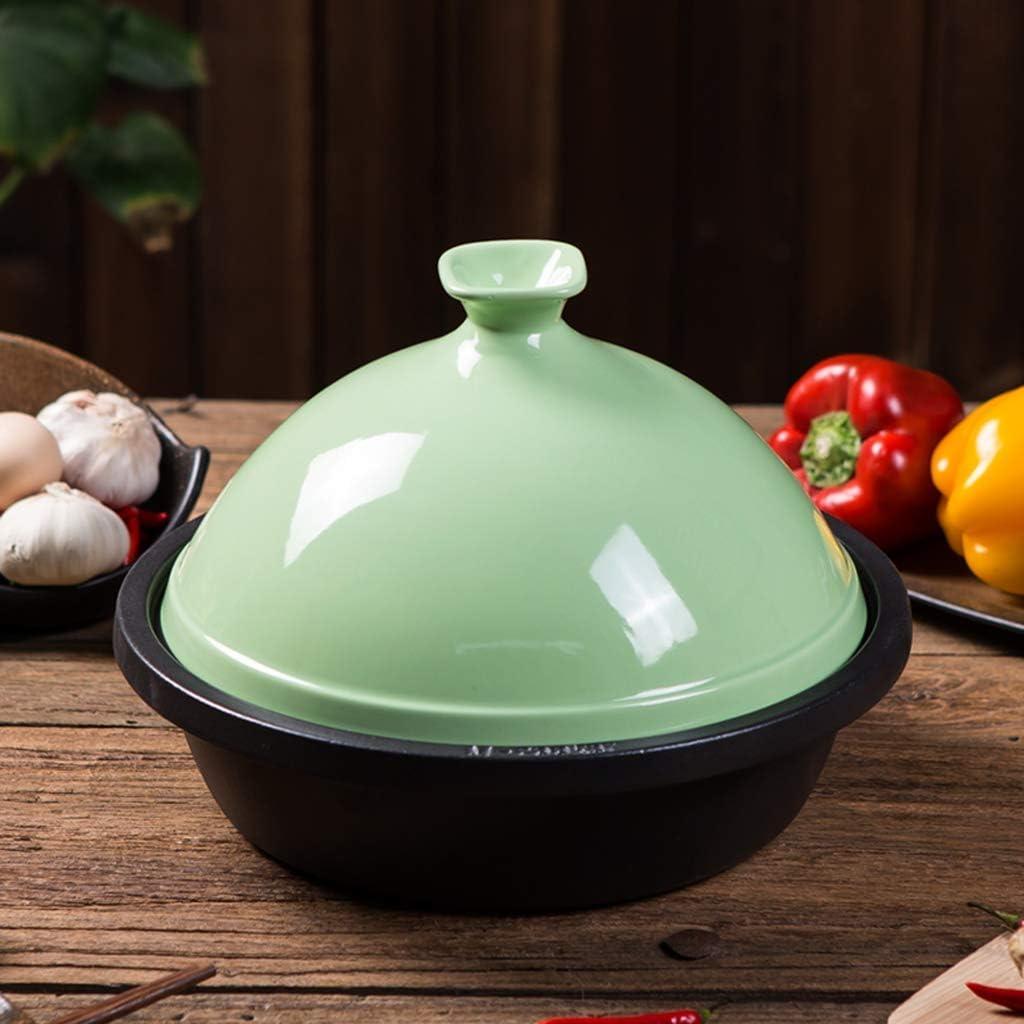 Yxxc Tapis de Danse, Pot de Tour en Fonte Pot à ragoût Pot en émail épais Cuisine en céramique Riz Casserole Bouillie Pot de Soupe avec Couvercle Tapis de Danse Green