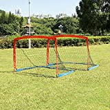 YV YOUTH VALUE Portable Soccer Goal w/Carry Bag for Kids and Teens, Foldable Soccer Net 6ft x 4ft, Set of 2