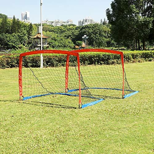 YV YOUTH VALUE Tragbares Fußballtor mit Tragetasche für Kinder und Jugendliche, faltbares Fußballnetz, 1,8 m x 1,2 m, 2 Stück
