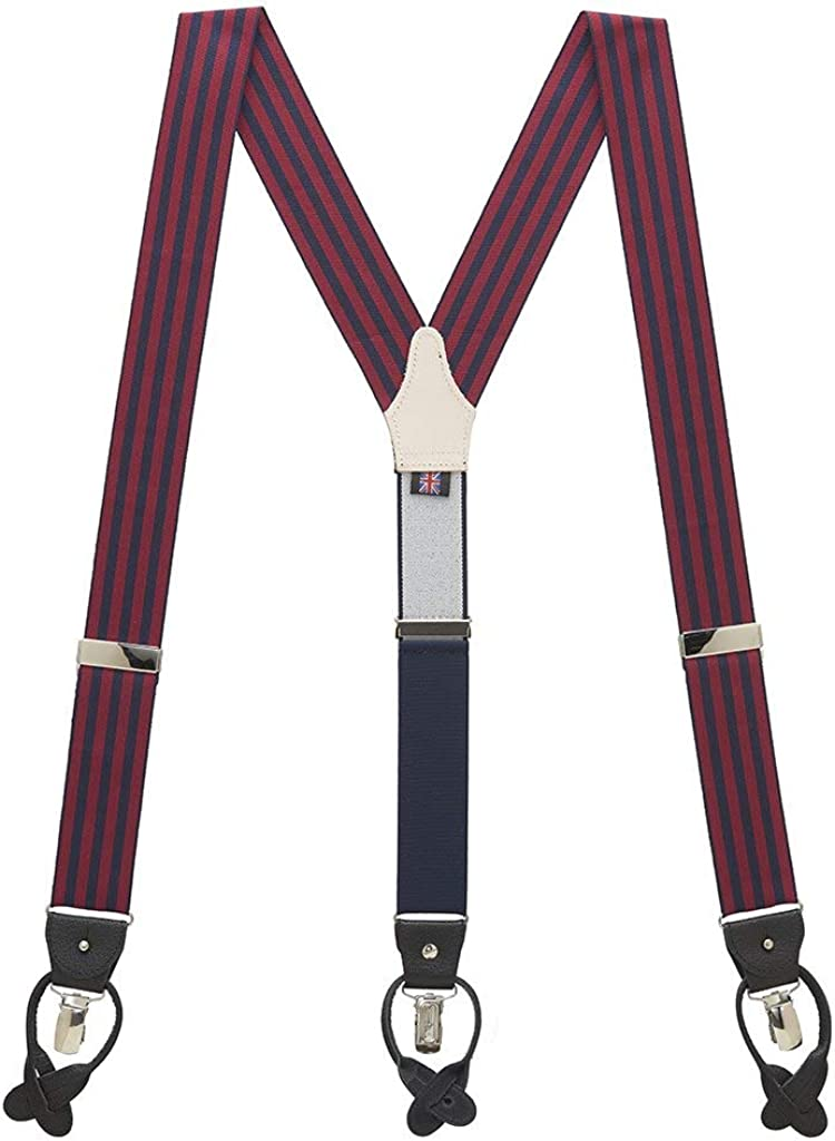 SuspenderStore Men's Striped Convertible-End Woven Dress Suspenders (4 colors)