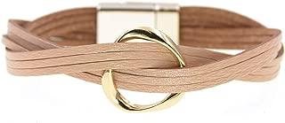 18 Colors Charm Leather Bracelets for Women & Men Multiple Layers wrap Bracelets Couple Gifts Fashion Jewelry,Beige,17cm