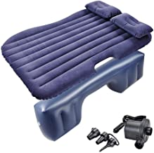 LeeMas Inc co Dark Blue Inflatable Mattress Car Air Bed Travel Camping Backseat Cushion w/Pillow Pump Support up to 300lbs Weight
