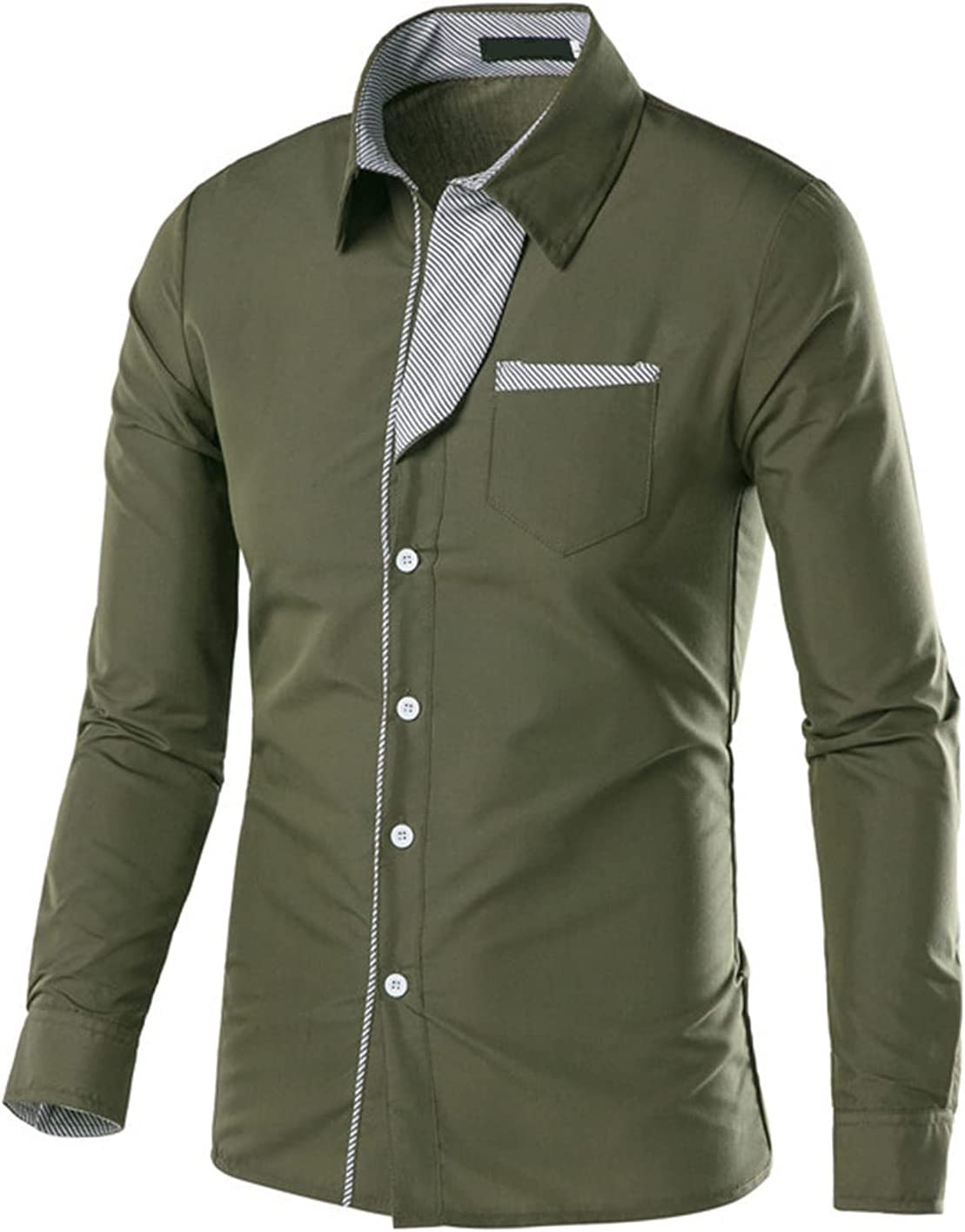 Men's Casual Fashion Business Lapel Dress Shirt Regular Fit Long Sleeve Slim Shirt Button Down Shirts with Pockets (Dark Green,4X-Large)