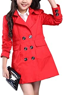Girl's Fall Cute Double Breasted Windbreaker Double-Breasted Trench Coat Lightweight Dress-Coat