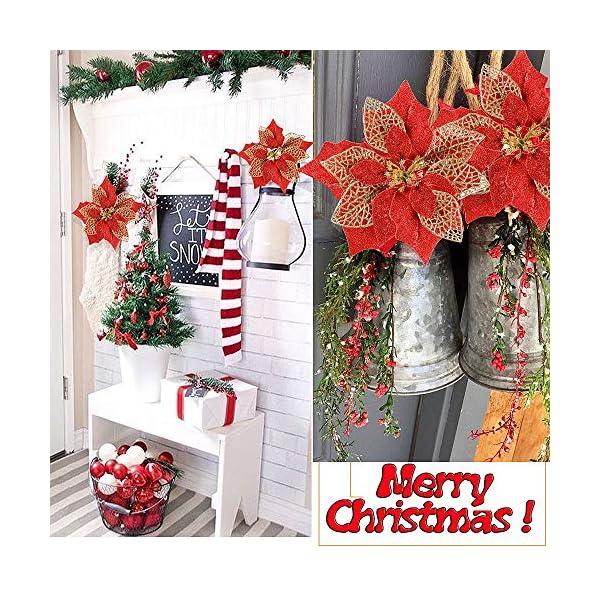 MEJOSER 10pcs Flores Navidad Artificiales Grandes 22cm con Purpurina Flores Pascua Ornamentos Adornos árbol Navidad…