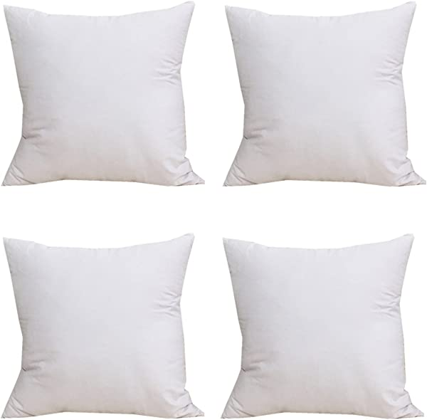 ESUPPORT 18 X18 Throw Pillow Case Cushion Cover 100 Cotton Pure Color Pack Of 4 White