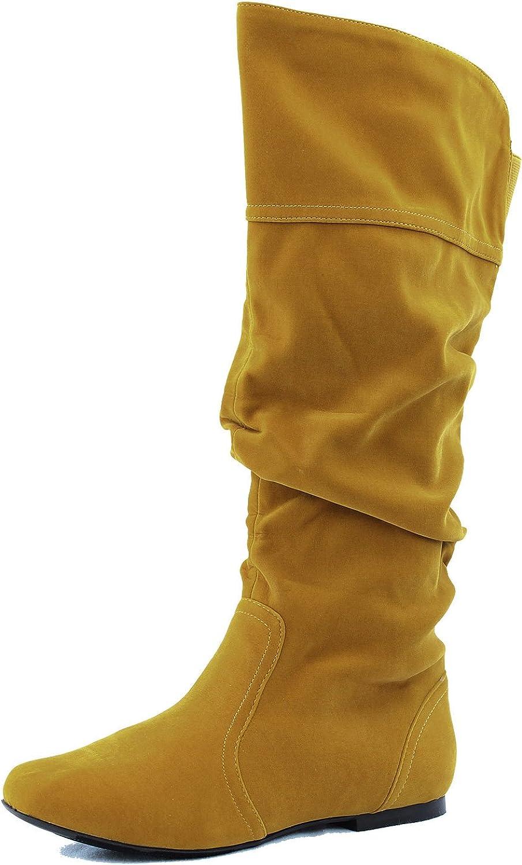 Qupid Women's Neo144 Leatherette Basic Slouchy Knee High Flat Boot,5.5 B(M) US,Mustard Velvet.Mustard Velvet